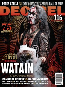 WATAIN appears on the cover of the July 2010 issue of Decibel Magazine