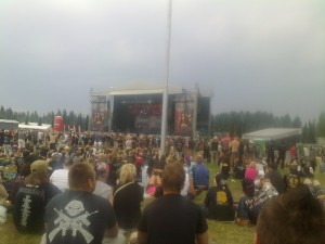 SLAYER on stage at Sonisphere Festival in Pori, Finland before the storm struck.