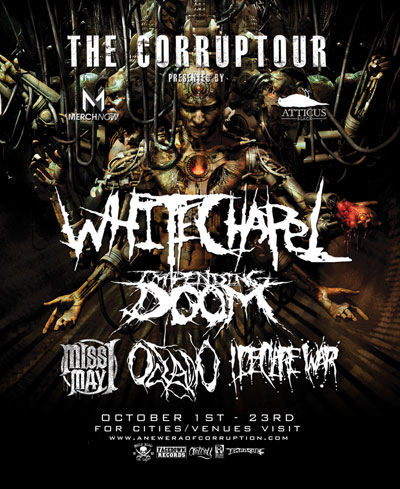 WHITECHAPEL announces headline run; hitting the road this October with Impending Doom, Miss May I, Oceano, I Declare=