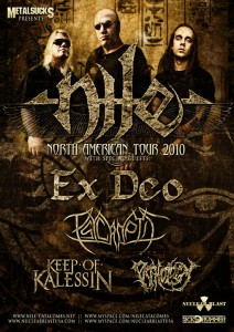 Tour poster: NILE, EX DEO, PSYCROPTIC, KEEP OF KALESSIN, PATHOLOGY