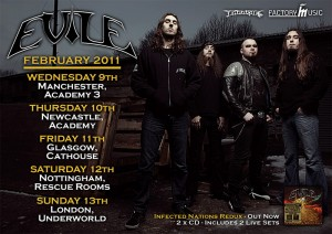 Tour flyer - EVILE live in the UK