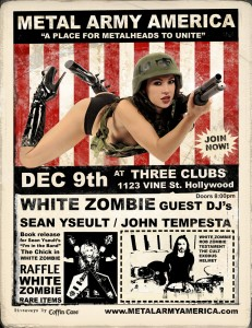 WHITE ZOMBIE'S SEAN YSEULT To Host Metal Army Night on December 9 at Three Clubs in Hollywood!