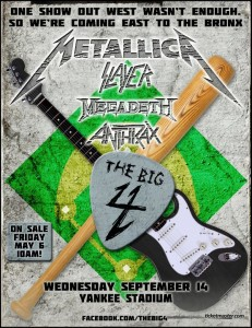 METALLICA, SLAYER, MEGADETH, ANTHRAX: 'Big Four' Coming To Yankee Stadium