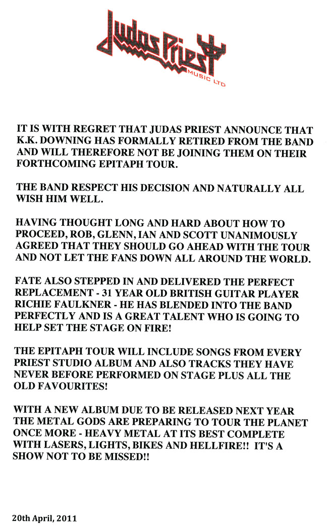 Judas Priest press release April 20, 2011