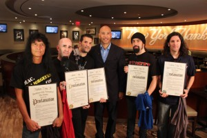 ANTHRAX DAY IN THE BRONX - September 14, 2011: PHOTO ID: Left to right: Joey Belladonna, Scott Ian, Charlie Benante, Bronx Borough President Ruben Diaz Jr., Rob Caggiano, Frank Bello (PHOTO CREDIT: John DeSio)