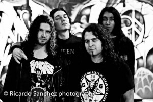 Bonded By Blood (Oct.2011). Left to right: MAURO GONZALEZ (vocals), CARLOS REGALADO (drums), JESSIE SANCHEZ (bass), JUAN JUAREZ (guitars)