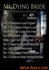 MY DYING BRIDE & TALANAS - 'A Tour Of All Our Failures' 2012 tour poster.