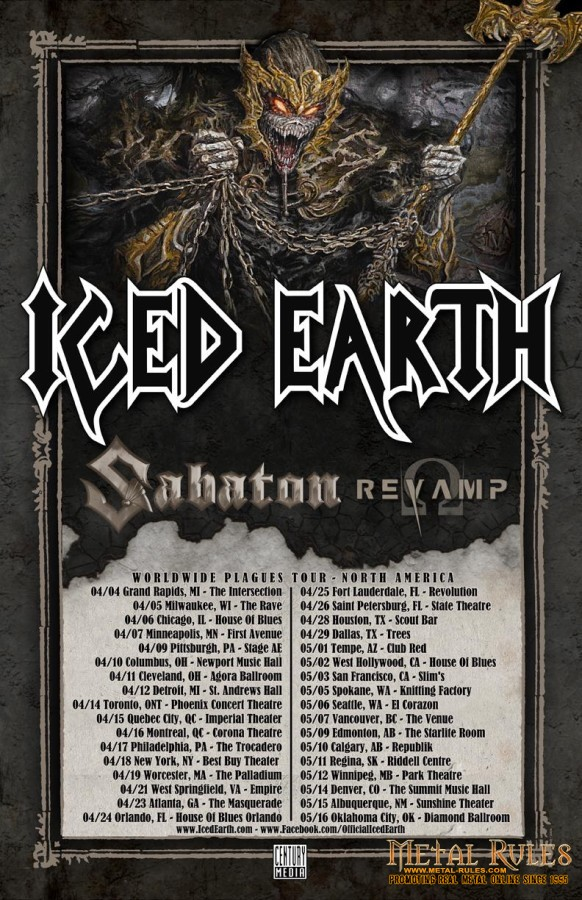 ICED EARTH Announce North American tour with SABATON and REVAMP!