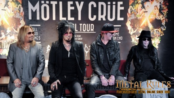 From left, Vince Neil, Nikki Sixx, Tommy Lee, and Mick Mars, of Motley Crue, are seen in Los Angeles on Jan. 28, 2014. The heavy-metal band says it will retire after performing 72 goodbye concerts. (AP Photo/Invision/ Richard Shotwell)