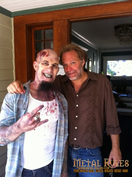 Scott Ian freshly made up as a zombie with Walking Dead special effects artist Greg Nicotero