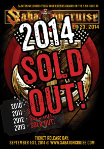 Sabaton Cruise 2014 - SOLD OUT!