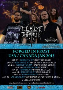 PRIME CUTS MUSIC, MAPLE METAL RECORDS & CLAIM THE THRONE PRESENT CLAIM THE THRONE (AUSTRALIA) & PRIMALFROST (CANADA) ON THE 'FORGED IN FROST' USA & CANADA TOUR 2015