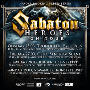 Sabaton - Heroes on European tour 2015 - 4 shows in Norway added.