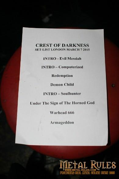 Crest of Darkness Setlist