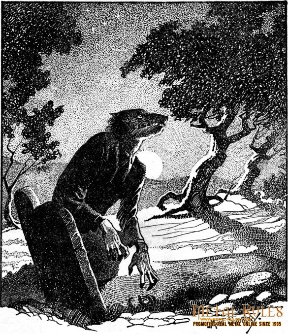 "Drawing of a werewolf in woodland at night. Main illustration for the story ""The Werewolf Howls"". Internal illustration from the pulp magazine Weird Tales (November 1941, vol. 36, no. 2, page 38)."