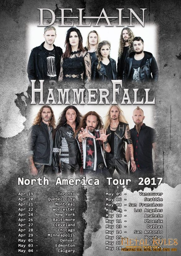 Delain / Hammerfall Co-headline tour announced