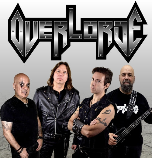 "OVERLORDE - L-R: George Janeira (Drums), Mark ""M.E."" Edwards (Flying V), George Tsalikis (Lead Vocals), John ""Kong"" Bunucci (Bass)"