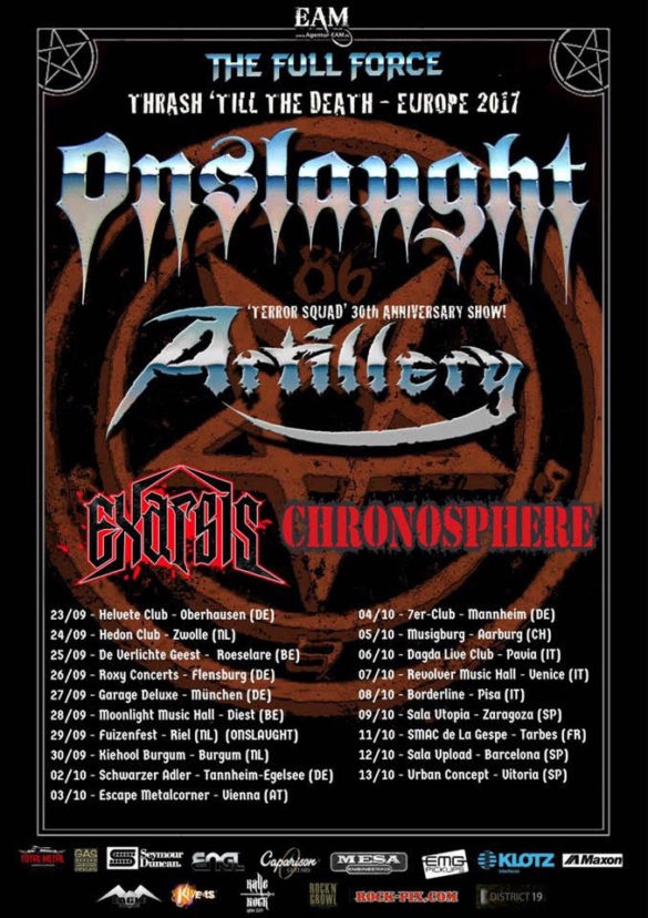 ONSLAUGHT to embark on Thrash 'Till the Death EU Tour- 2017 with Artillery, Exarsis and Chronosphere!