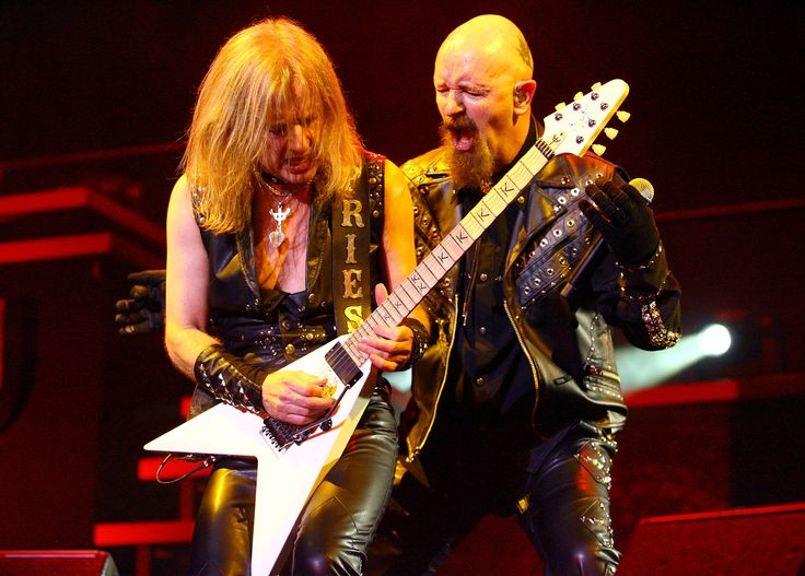 (L-R) K.K. Downing and Rob Halford of the band Judas Priest perform on stage at the Brisbane Entertainment Centre on September 10, 2008 in Brisbane, Australia. (Sept. 10, 2008 - Source: Bradley Kanaris/Getty Images AsiaPac)