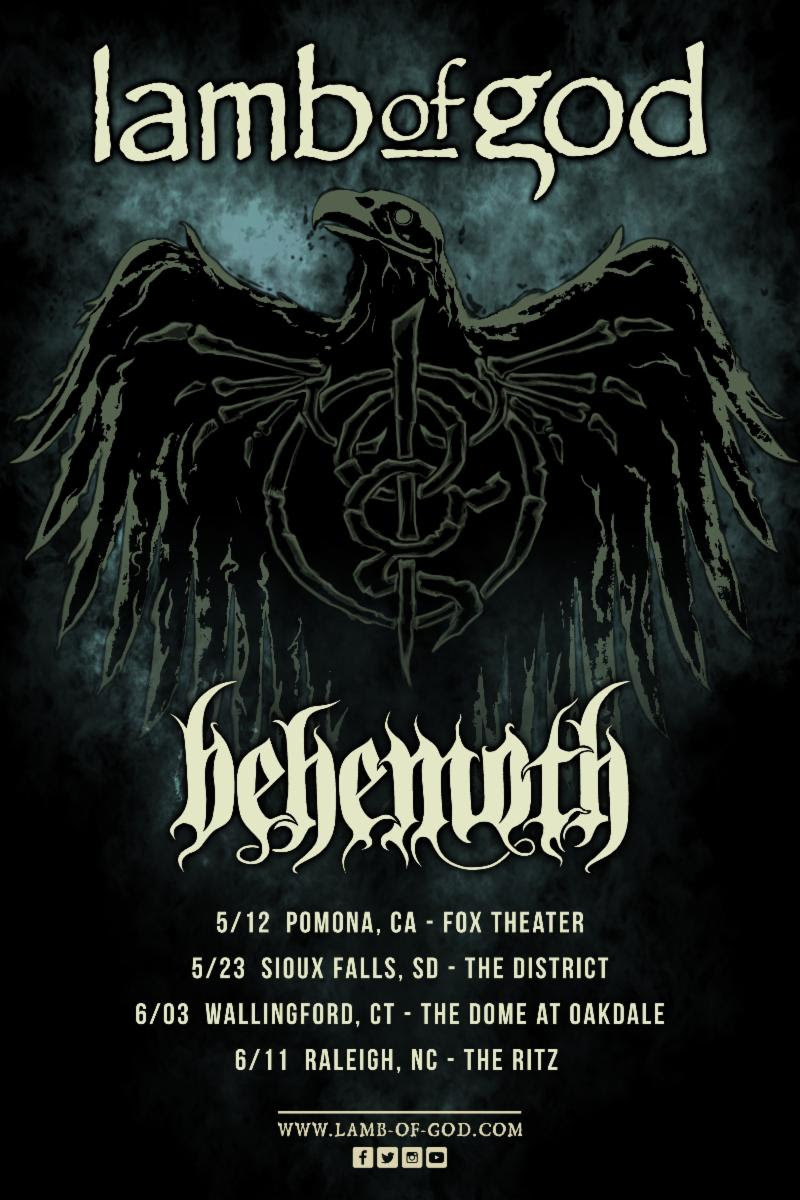 LAMB OF GOD Announces Select One-Off Headline Shows Featuring Support from Behemoth
