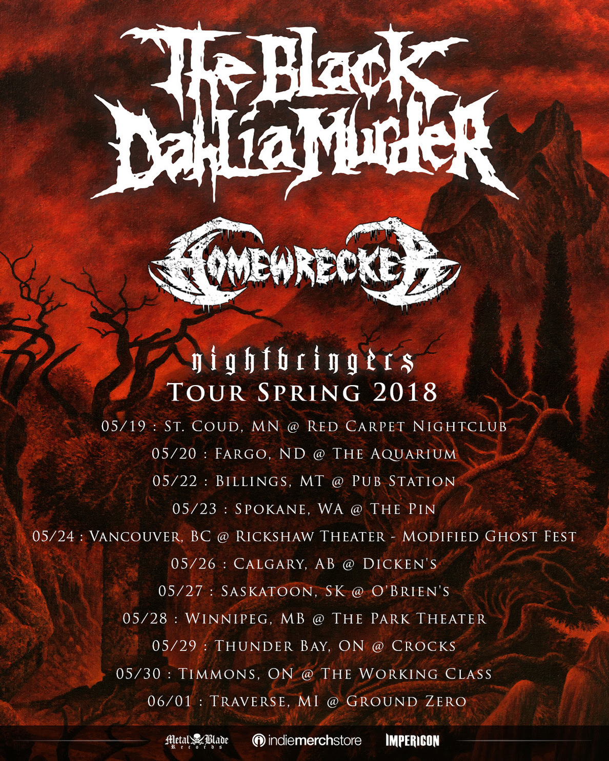 The Black Dahlia Murder announces spring tour dates in North America, featuring Homewrecker as support