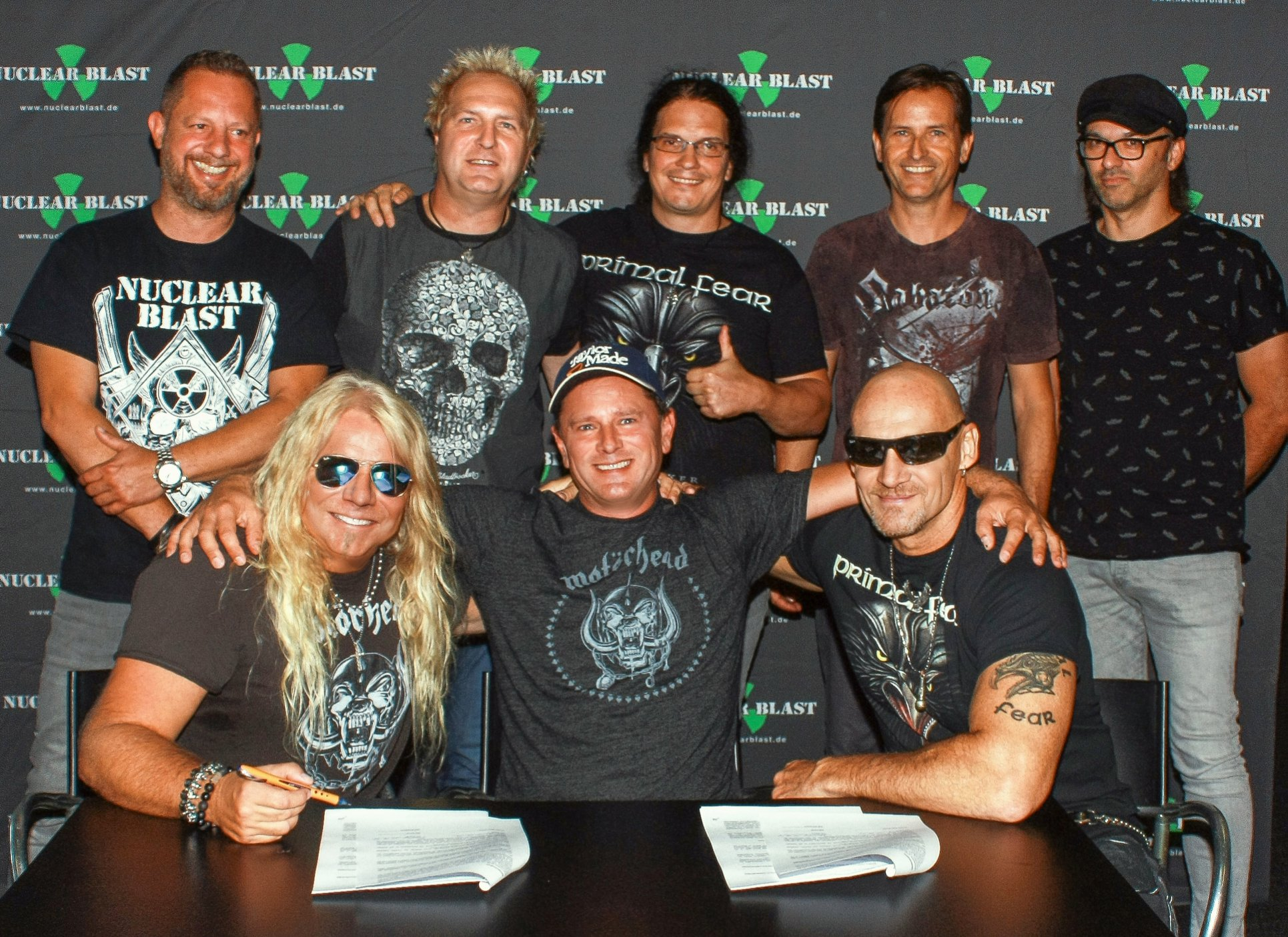PRIMAL FEAR - Standing f.l.t.r.: Marcus Hammer (Label Manager, Nuclear Blast), Tom Naumann (Primal Fear), Markus Wosgien (A&R, Head of Promotion, Nuclear Blast), Yorck Eysel (Label Manager, Nuclear Blast), Michael Langbein (Head of Production, Nuclear Blast) Sitting: Mat Sinner (Primal Fear), Markus Staiger (Owner, Nuclear Blast), Ralf Scheepers (Primal Fear)