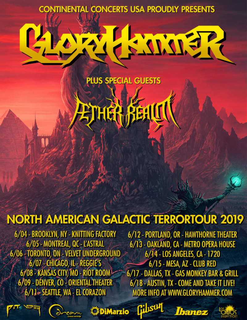 GLORYHAMMER Announces North American Headline Tour Dates with Aether Realm