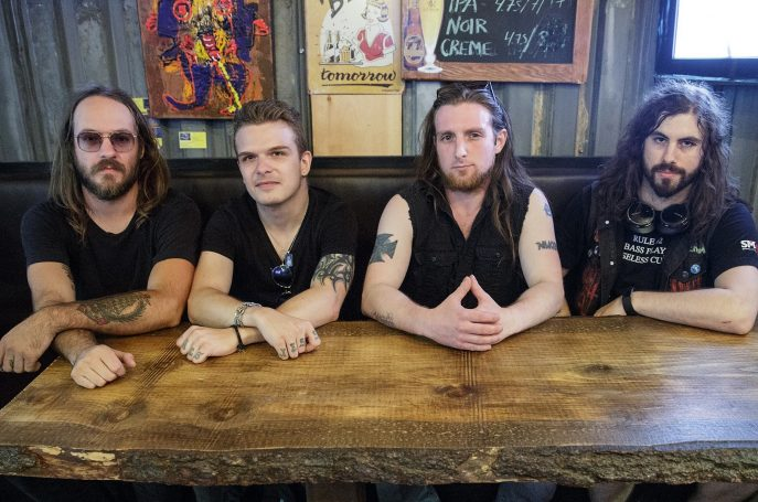 Doom 'An Blue: L-R Jimmy Antle (Drums), Jesse James Dimitri (Guest Vocals), Lee Whiskey (Guitar), Dan Matheson (Guest Bass). Photo Credit-Mihaela Petrescu