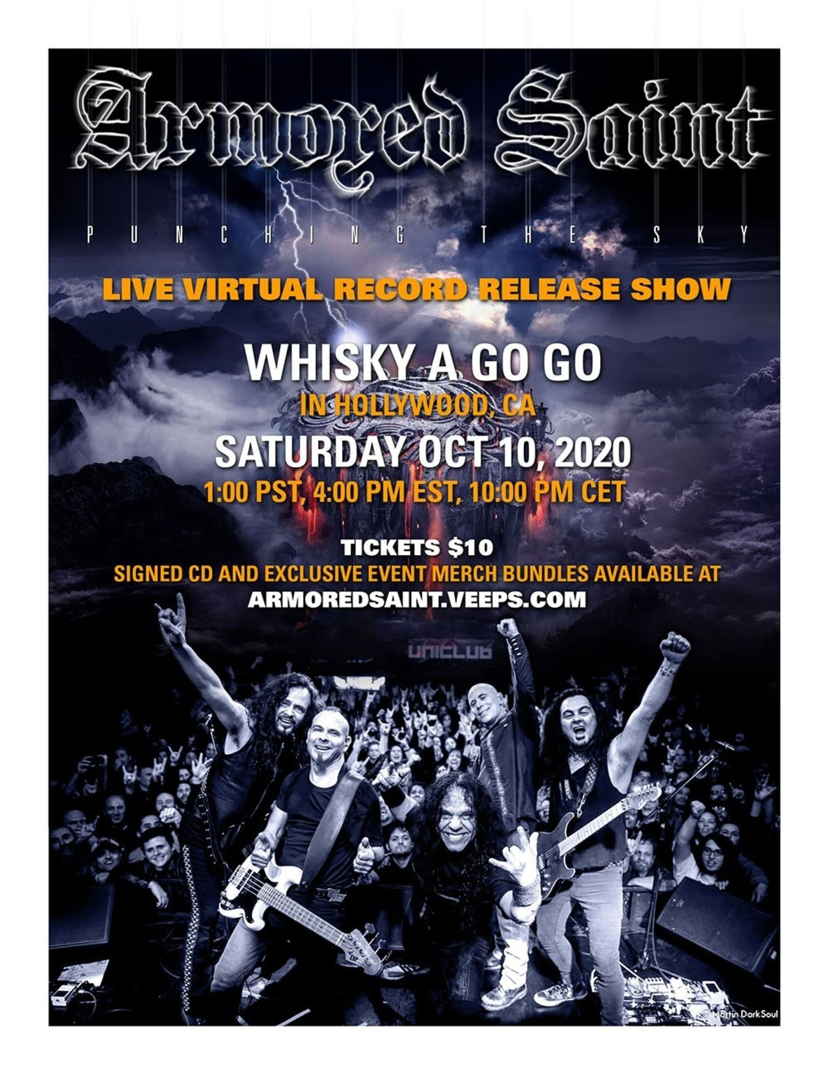 Armored Saint announces live record release show online, set for Saturday, October 10th 2020