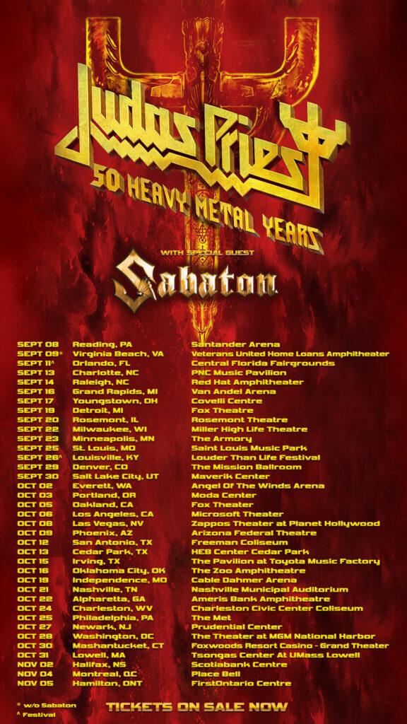 Judas Priest with Sabaton Fall 2021